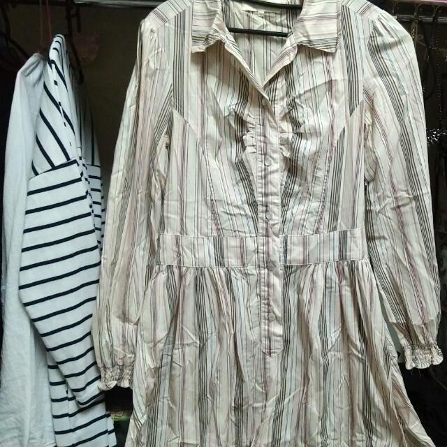 直條紋棉洋裝(送)