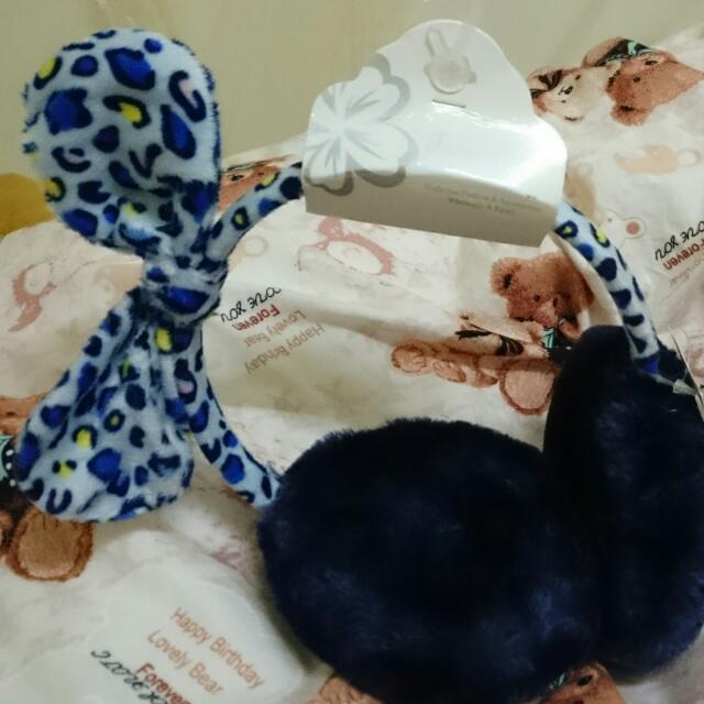 (待匯款,想要的可排後補)全新 藍色豹紋 蝴蝶結 毛絨絨耳罩