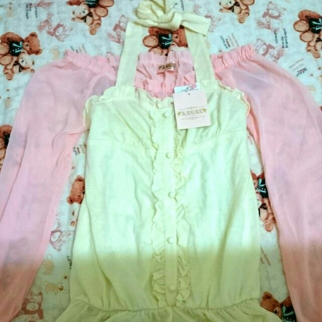 全新 專櫃 ANGEL 依立方 甜美粉紅 蕾絲長袖 綁帶上衣