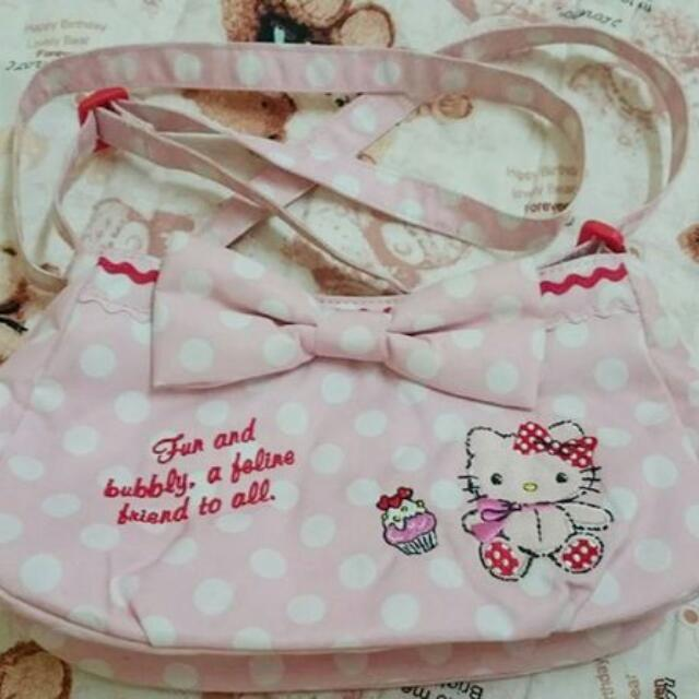 三麗鷗專櫃 Hello Kitty 粉紅色 點點 大蝴蝶結 刺繡 斜背包 側肩包