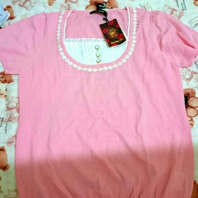 全新 MA TSU MI 瑪之蜜專櫃 針織上衣 粉色