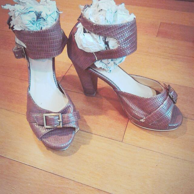 Anns真皮高跟涼鞋