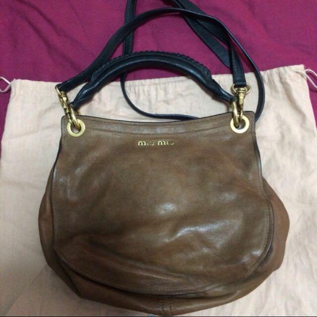 Authentic Miu Miu Leather Hobo Bag 08e72ec1bfd1a