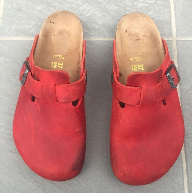 Birkenstock Red Boston Slips On For Sale