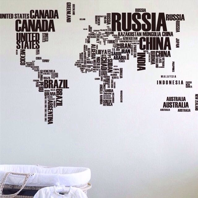 Black white world map wall sticker xxl home furniture home black white world map wall sticker xxl home furniture home dcor on carousell gumiabroncs Image collections