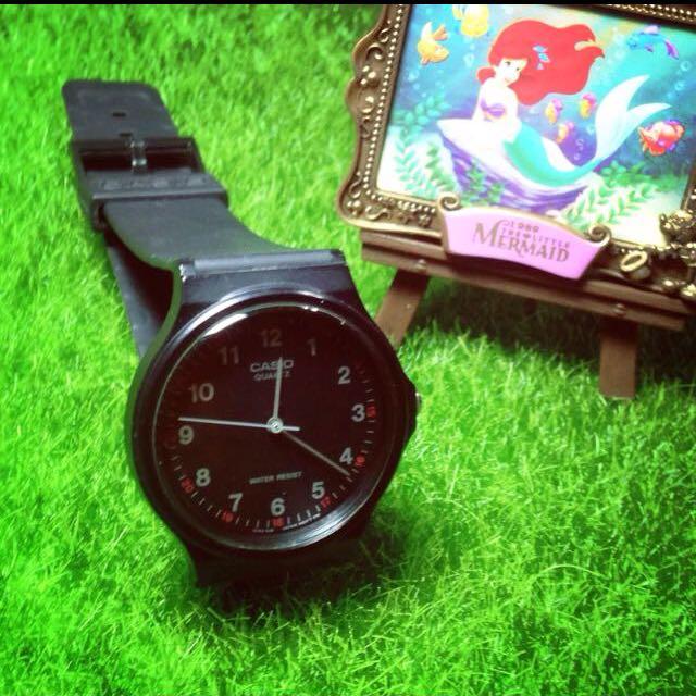CASIO 極簡時尚指針石英錶-黑/35mm(以降價)