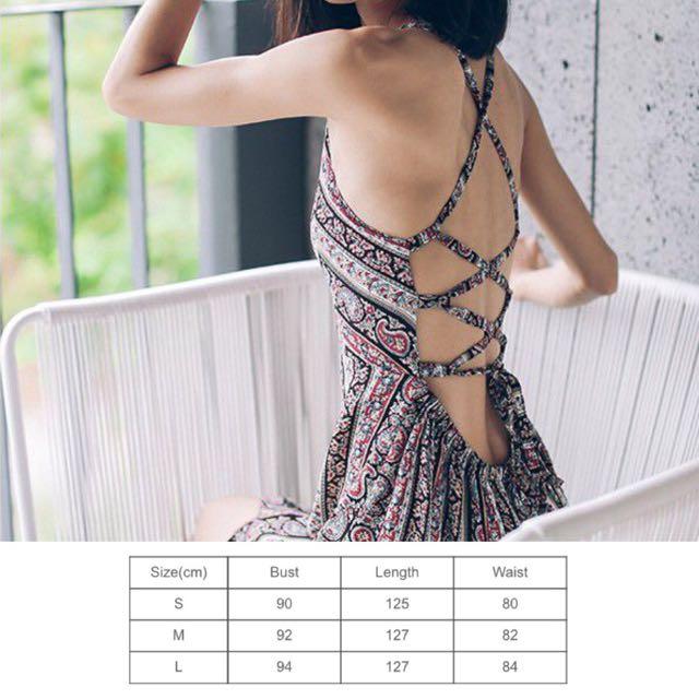 232dafb8087 Criss Cross Bare Back Sexy Casual Tribal Prints Summer Beach Wear Style  Flap Maxi Dress - Code E049