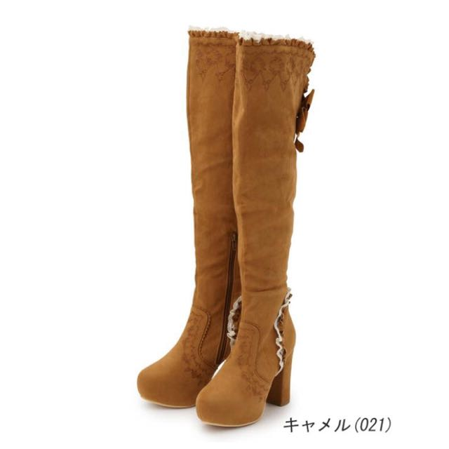 LIZ LISA 正品 蕾絲刺繡過膝靴 - 咖啡M