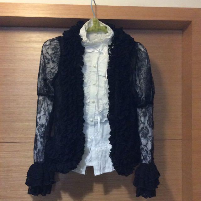 暗黑Lolita晚宴公主袖玫瑰蕾絲蘿莉塔喇叭袖小外套