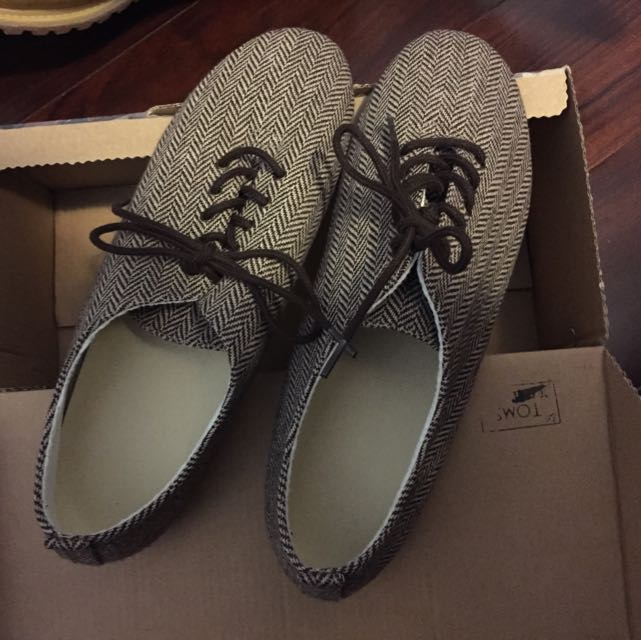 MUJI//全新棕色格紋平底鞋//SIZE:25//$899