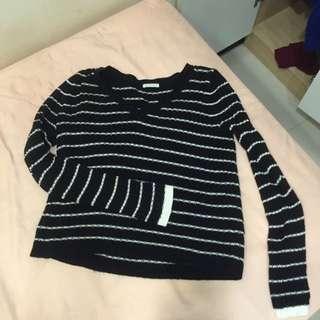 GU 針織 黑白 條紋 毛衣
