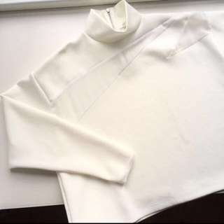ZARA Off White Sweatshirt With Mesh Panel