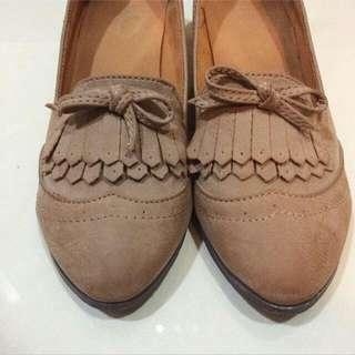 日本購入麂皮牛津低跟鞋