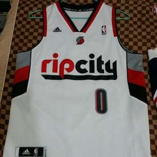 ※二手※ NBA Adidas 愛迪達 正品白色球衣M號 波特蘭拓荒者 0號 Damian Lillard