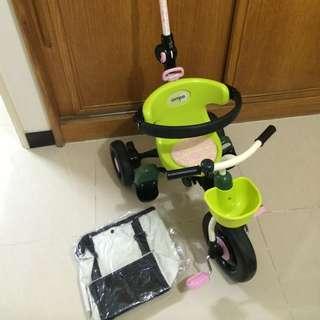 (9成新,包包全新)日本 ides 折疊三輪車 摺疊三輪車 背包車 兒童騎乘 外出方便-綠色