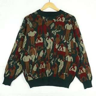 ☞新增實穿☞韓國歐式生活滿版飽和巴黎人F06☞grand grand復古VINTAGE古著毛衣