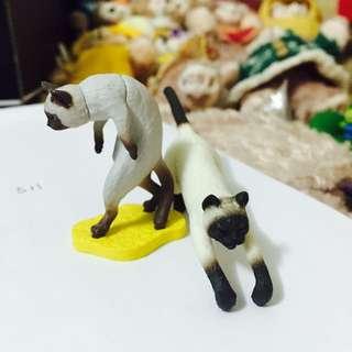 暹羅貓 駝背擺飾+杯緣子 扭蛋 ㄧ組
