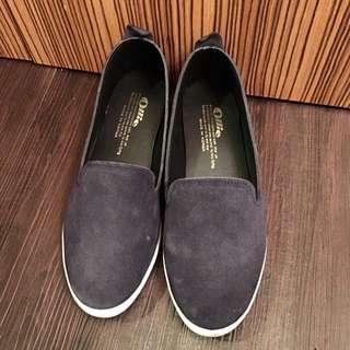 正韓新品ollie深藍色麂皮材質樂福鞋懶人鞋特價免郵