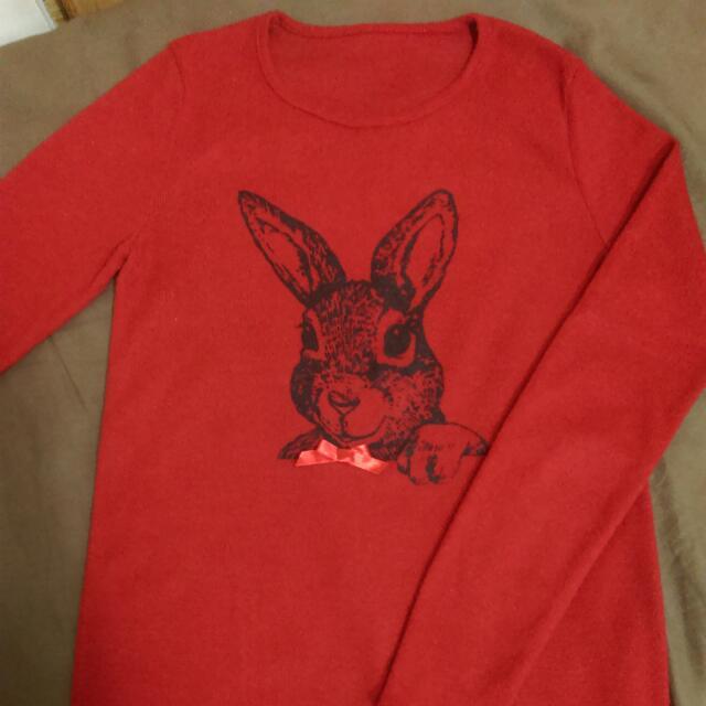 紅色可愛兔子長袖上衣🐰🐇