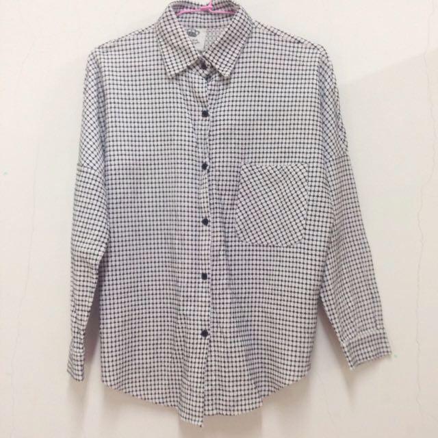 (原價580)黑白格紋口袋襯衫