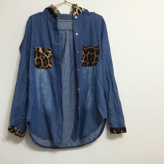 二手:豹紋牛仔襯衫