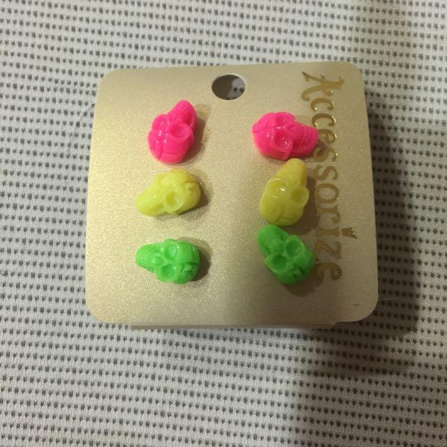 含運-螢光骷髏耳環