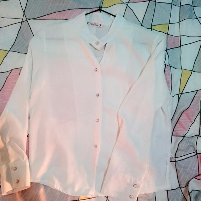 °°全新°° 白色雪紡復古長袖襯衫