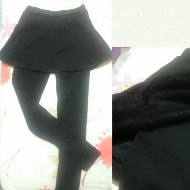 [全新僅下水!] 冬著用 加絨厚假兩件內搭褲裙 (黑)