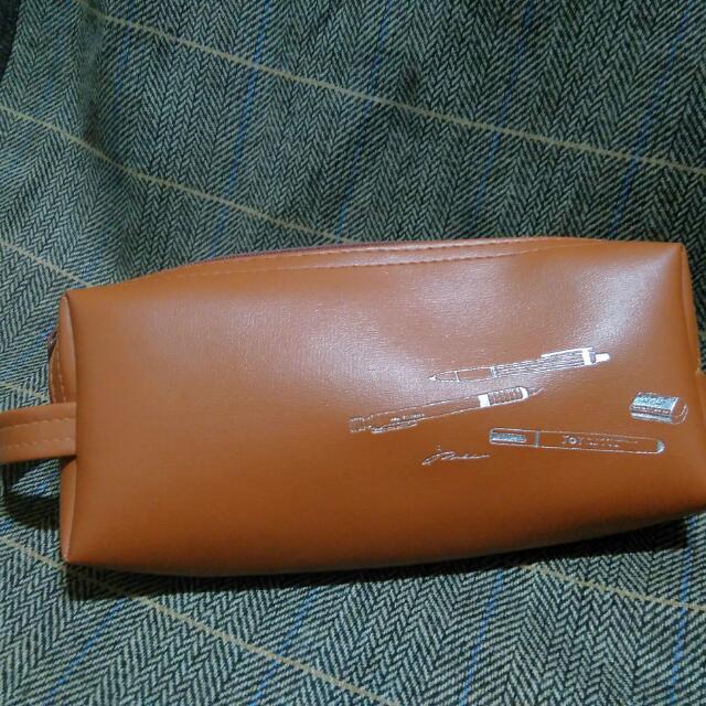 褐色 皮  筆袋 鉛筆盒