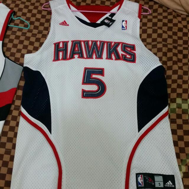 ※二手※ NBA Adidas 愛迪達 正品白色球衣S號 亞特蘭大老鷹5號 Josh Smith