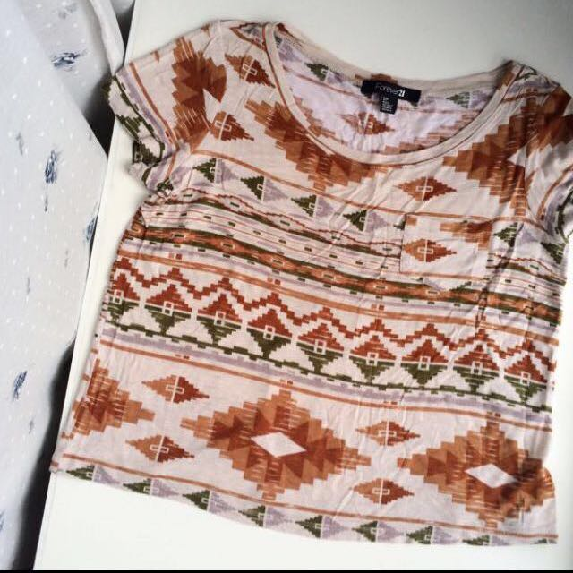 FOREVER 21 Aztec Printed T Shirt