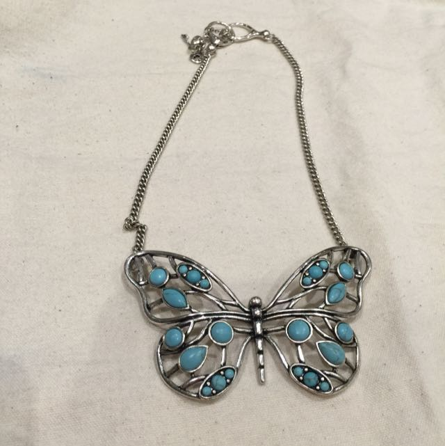 Fossil butterfly necklace