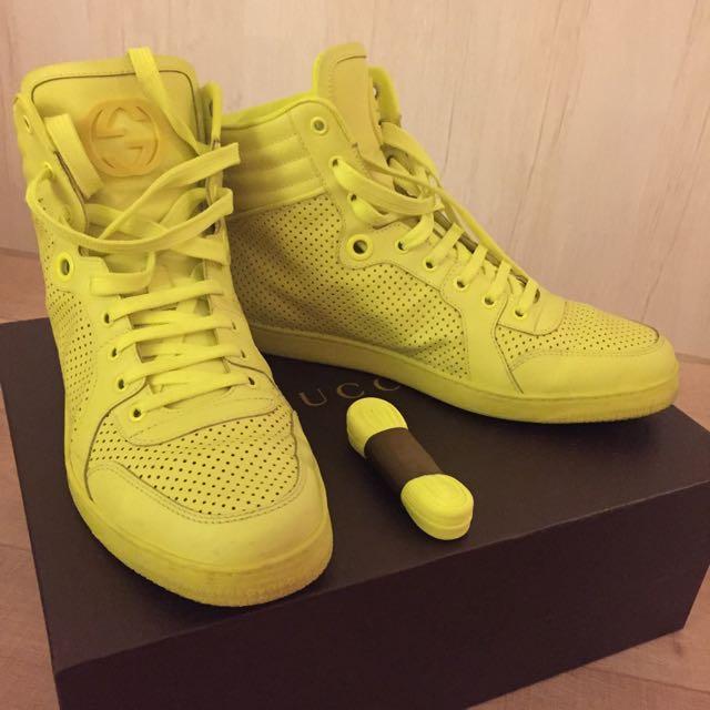 出清二手GUCCI螢光黃球鞋運動鞋