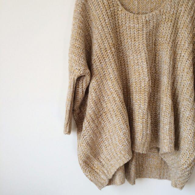 Joyceshop粉嫩黃色寬鬆蝙蝠袖厚針織毛衣