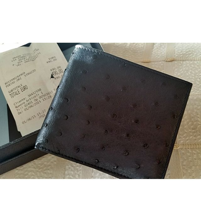 94f52812 Prada Ostrich Navy Blue Leather Bi-Fold Wallet, Men's Fashion on ...