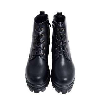 拉鍊繫帶厚底皮革軍靴