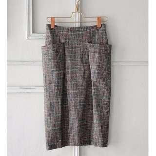學院雙口袋設計 格紋毛呢感中長裙 灰白色 M號 全新現貨