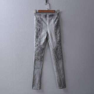 S號秋冬厚款蕾絲花網設計款緊身褲 保暖灰色 局部帶白刷色牛仔感長褲