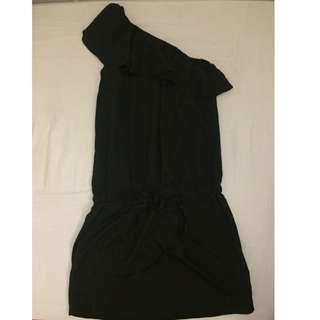 ✋🏻二手✋🏻近全新全黑斜肩氣質洋裝