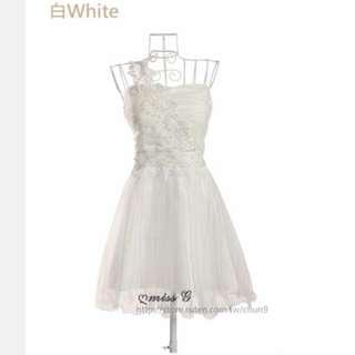 全新✨伴娘服 單肩 白色 雕花 小禮服 白紗