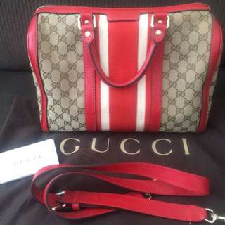 Original Gucci Medium Canvas Boston Bag