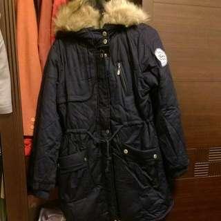✨降價 全新長版厚棉外套(深藍色)