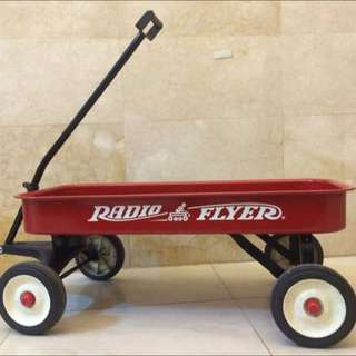 美國Radio Flyer紅色大型金屬台車/可正常使用/日本來源古董收藏二手美品/新竹市可面交/咖啡廳餐廳親子餐廳文創園藝