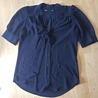 Dotti Pussybow Blouse Navy 8