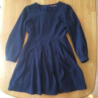 Princess Highway L/S Navy Skater Dress 8