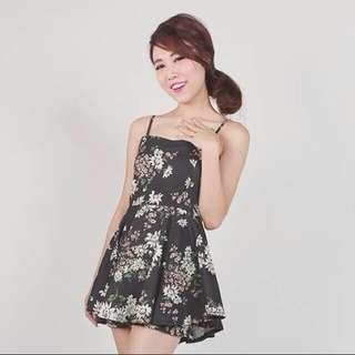 TTR Black Floral Romper/Dress