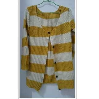 芥末黃 白 針織 外套