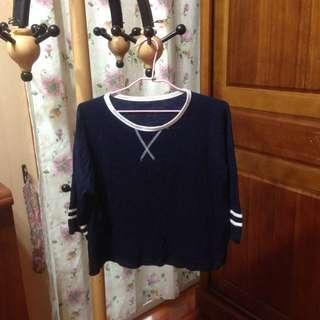 降!洋芋妹 七分袖深藍學院風條紋衣