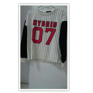 全新   條紋  長袖  棒球