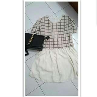 全新😊 格紋  小洋裝 雪紡 短袖  裙